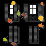 Open and clothe autumn window Stock Photos