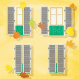 Open and clothe windows on wall,  illustration. autumn bac Royalty Free Stock Photography