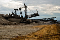 Open coast coal mine - excavator Stock Photos