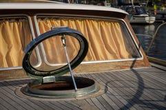 Open cockpit  hatch  on the  yacht Stock Photo