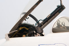 Open cockpit of Su-27 jet Stock Photography