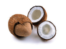 Open coconuts. On white background Stock Photos