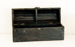 Open coffin. Open antique coffin made of wood Royalty Free Stock Photos