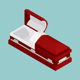 Open coffin isometrics. Wooden casket for burial. Red hearse. Re. Ligious illustration Stock Photo