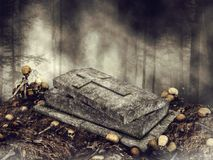Open coffin surrounded by skulls Stock Image
