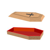 Open coffin on a white background. Lid of a coffin with a cross. Royalty Free Stock Images