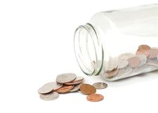 Open coin jar. An opening coins jar collection Royalty Free Stock Images