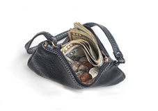 Open coin purse with money Stock Photography