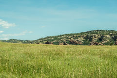 Open Colorado Range. Open field in front of red rock foothills in Colorado Royalty Free Stock Photo