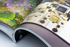 Open colorful magazines. Home and garden Royalty Free Stock Photo