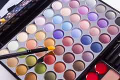 Open colourful eye shadow compact Stock Photo