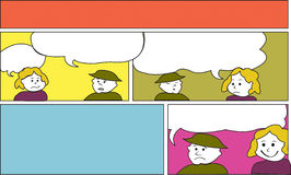 Open Comics Template. An open comics template in colors and cartoons people with talking bubbles Royalty Free Stock Images