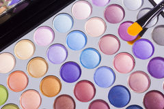 Open compact of colourful eye shadow Royalty Free Stock Image