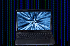 Open computer black color. With digital background Stock Photography