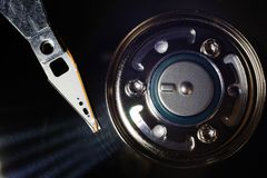 Open computer hard drive top view Royalty Free Stock Images
