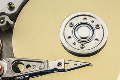 Open computer hard drive on white background Stock Image