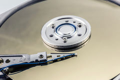 Open computer hard drive on white background Royalty Free Stock Photo
