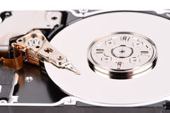 Open computer hard drive on white background Stock Photography
