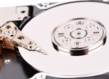 Open computer hard drive on white background Stock Images