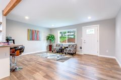 Open concept home interior with hardwood floor. Open concept home interior with hardwood floor and lots of space stock image