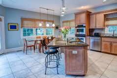 Open concept kitchen and dining room stock images