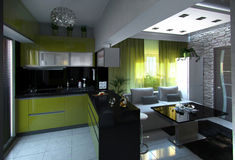 Open Concept Kitchen and Living Room, 3D Rendering Stock Photo