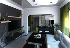 Open Concept Living Room and Kitchen scene 4, 3D Rendering Royalty Free Stock Photos