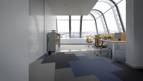 Open Concept Office Space in Urban Penthouse royalty free illustration