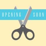 Open concept, scissors cut the ribbon. Vector illustration Stock Photography