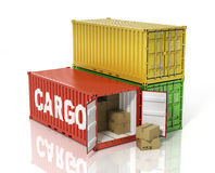 Open container with cardboard boxes. Stock Photos