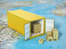 Open container with cardboard boxes on the world map. Transporta Stock Photography