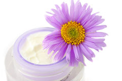 Open container of cosmetic face cream Stock Photo