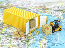 Open container with forklift stacker loader holding cardboard bo Stock Photos