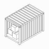 Open container met dozenpictogram, isometrische 3d stijl Royalty-vrije Stock Afbeelding
