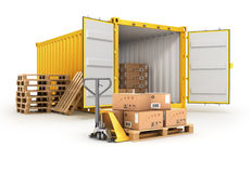Open container pallets with boxes and hand truck Stock Images