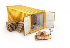 Open container pallets with boxes Stock Photos