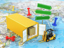 Open container with road sign and forklift stacker loader holdin Stock Photo