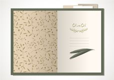 Open cook book with olive leaves and olive branches pattern. Hand written text and hand-drawn olive branches stock illustration
