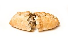 Open Cornish pasty. An isolated view of a Cornish pasty on a white background Royalty Free Stock Photography