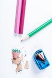 Open corregge l'affilatrice e le matite Fotografia Stock