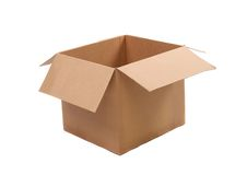 Open corrugated cardboard box Stock Photo