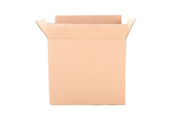 Open corrugated cardboard box on white Royalty Free Stock Photography