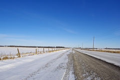 Open Country Road in Winter Royalty Free Stock Photos