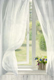 Open Country Window. Pots of flowers in country cottage window with billowing curtains Royalty Free Stock Photo