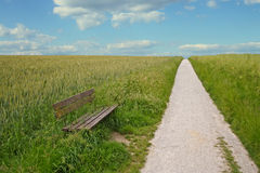Open countryside. An open countryside with a bench at a small path stock images