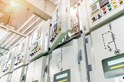 Open cover electrical switch gear panel. At substation of power plant stock photography