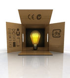 Open crate with bulb light illumination Stock Photography