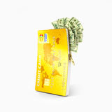 Open credit card with dollar bills, Royalty Free Stock Image