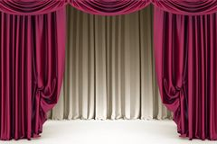 Open  crimson theater curtain with light and shadow Royalty Free Stock Image