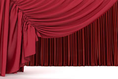 Open crimson theater curtain with light Stock Image